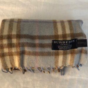 Burberry Light Blue Classic Fringe Check Scarf